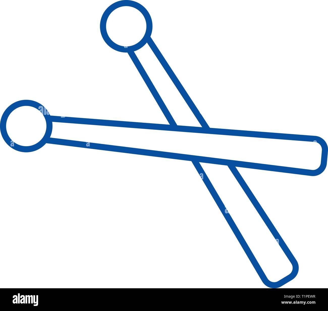 Drumsticks line icon concept. Drumsticks flat  vector symbol, sign, outline illustration. - Stock Vector