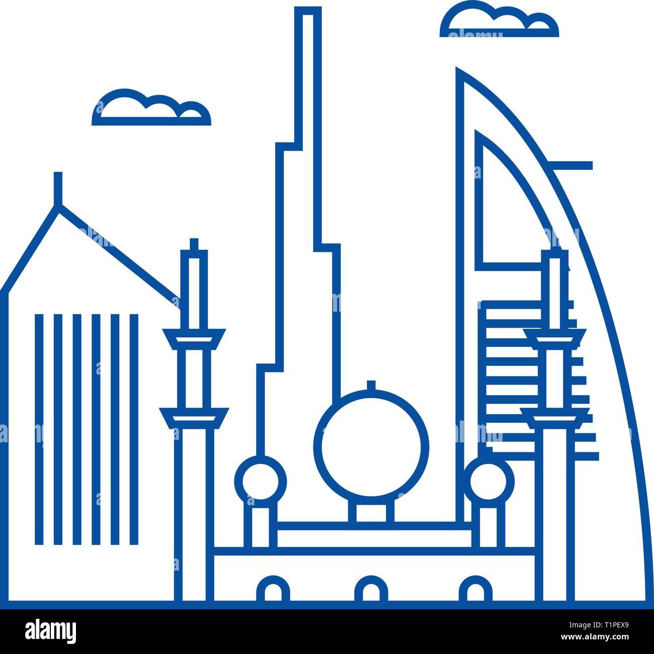 Dubai line icon concept. Dubai flat  vector symbol, sign, outline illustration. Stock Vector