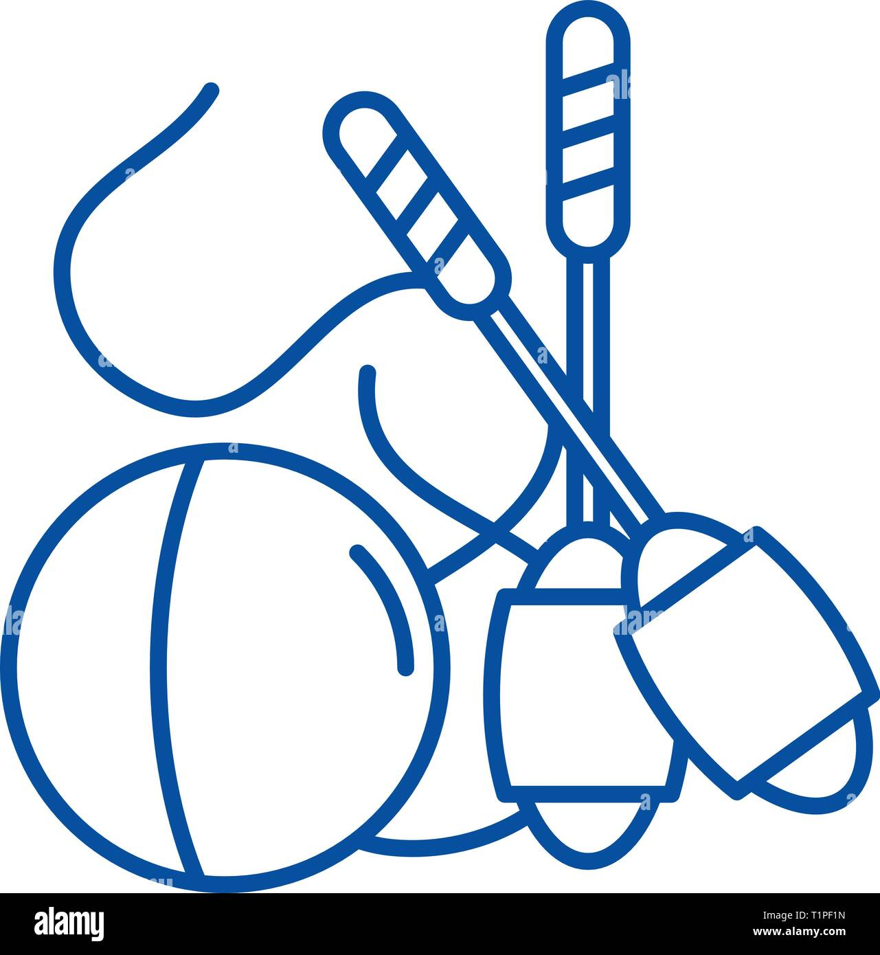 Easy gymnastics line icon concept. Easy gymnastics flat  vector symbol, sign, outline illustration. - Stock Vector