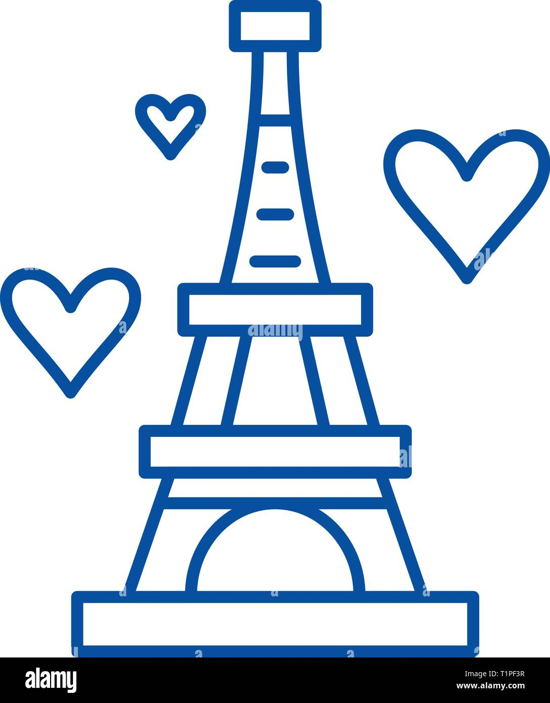 Eiffel tower line icon concept. Eiffel tower flat  vector symbol, sign, outline illustration. - Stock Vector