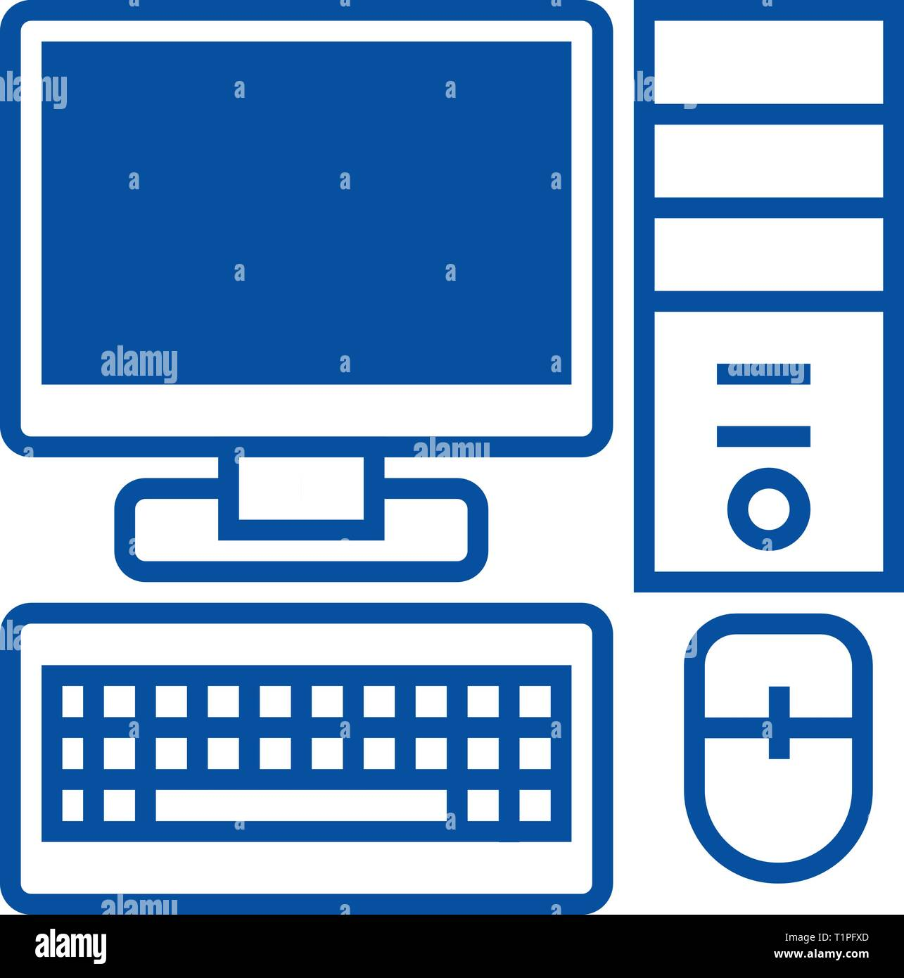 Personal computer,monitor keyboard  line icon concept. Personal computer,monitor keyboard  flat  vector symbol, sign, outline illustration. - Stock Image