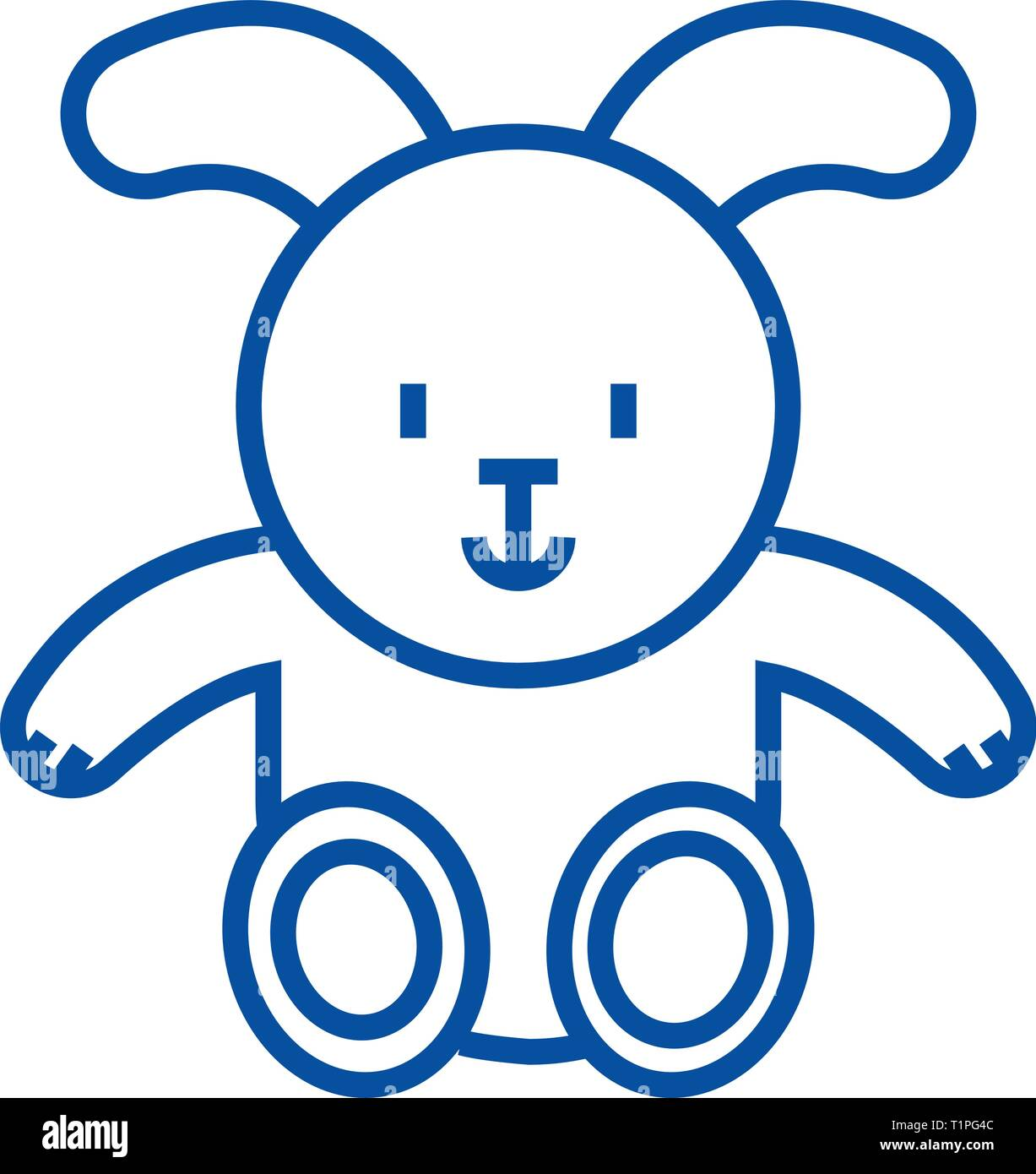 Rabbit baby line icon concept. Rabbit baby flat  vector symbol, sign, outline illustration. - Stock Vector