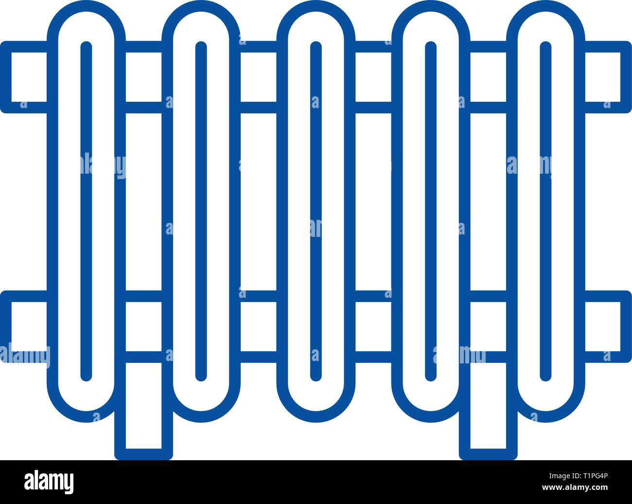 Radiator line icon concept. Radiator flat  vector symbol, sign, outline illustration. - Stock Vector