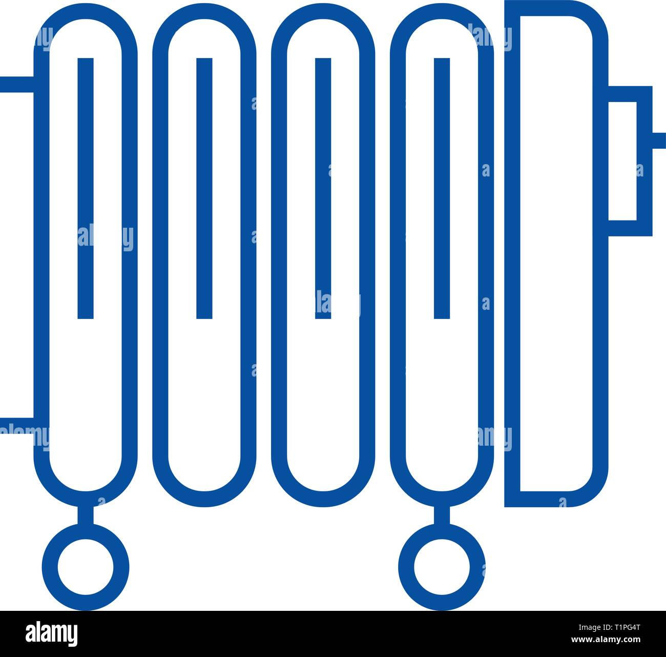 Radiator,oil heater line icon concept. Radiator,oil heater flat  vector symbol, sign, outline illustration. - Stock Vector
