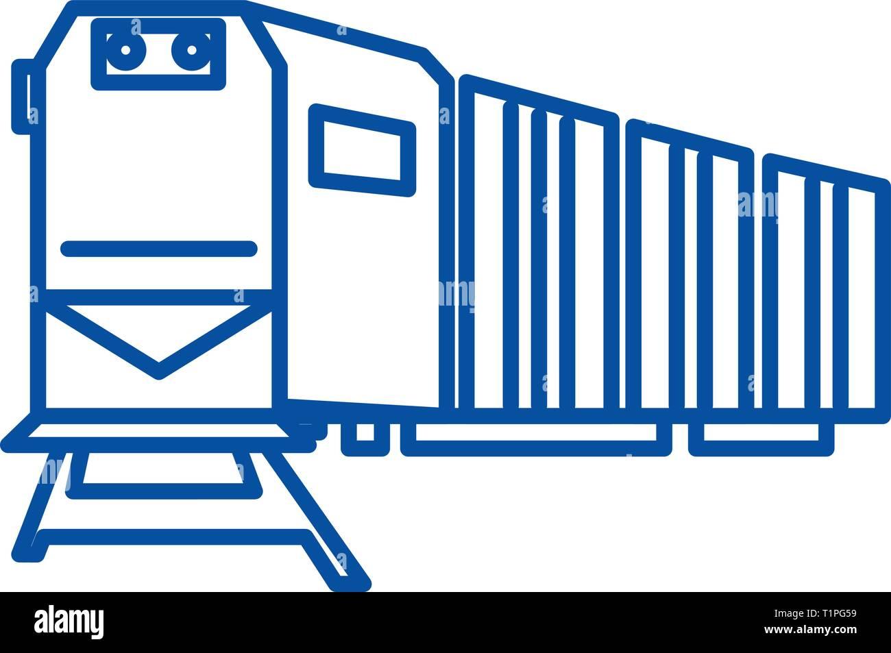 Railway logistics,train,cargo line icon concept. Railway logistics,train,cargo flat  vector symbol, sign, outline illustration. - Stock Vector