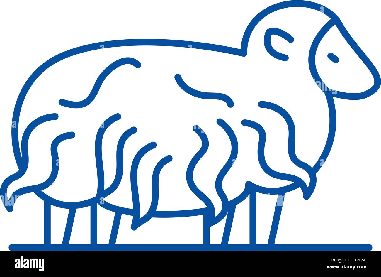 Ram line icon concept. Ram flat  vector symbol, sign, outline illustration. - Stock Vector
