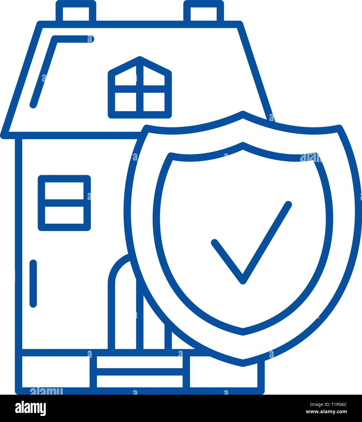 Real estate insurance line icon concept. Real estate insurance flat  vector symbol, sign, outline illustration. - Stock Vector