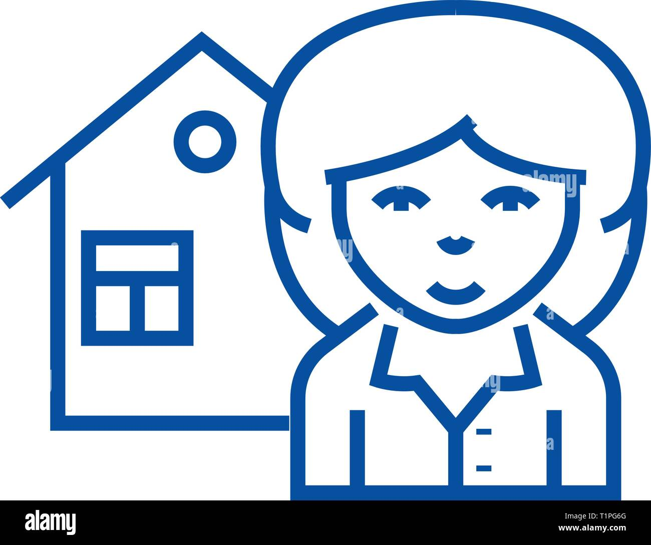 Realtor line icon concept. Realtor flat  vector symbol, sign, outline illustration. - Stock Vector