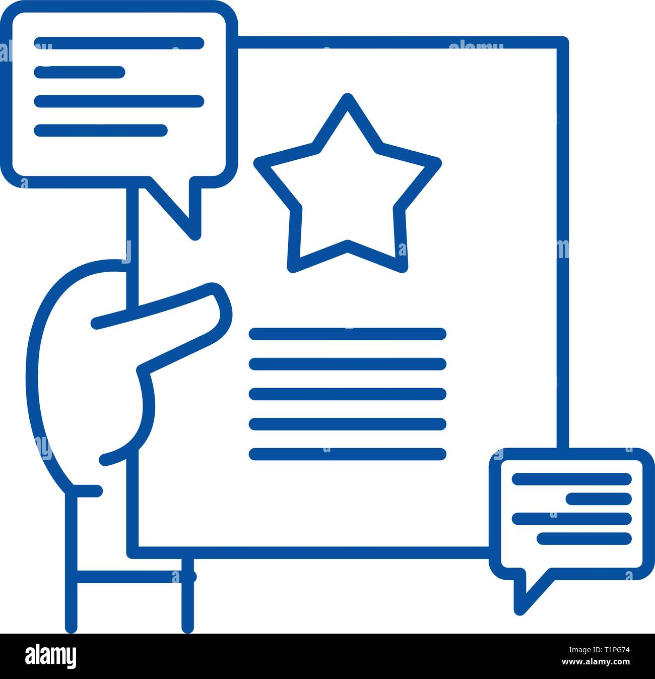 Recommendations line icon concept. Recommendations flat  vector symbol, sign, outline illustration. - Stock Image