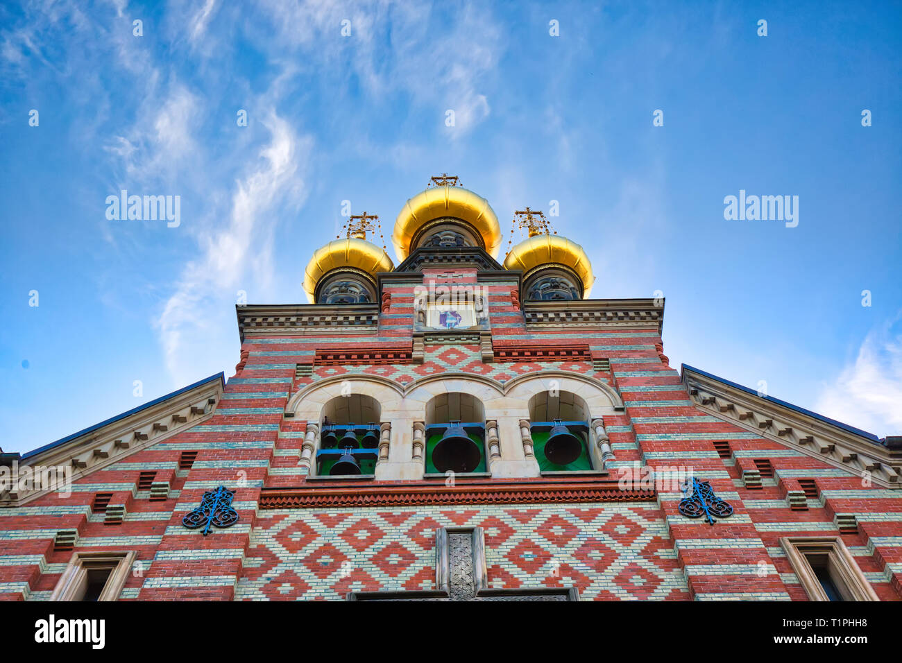 Russian Orthodox Alexander Nevskij (Nevsky) church located in historic center Stock Photo
