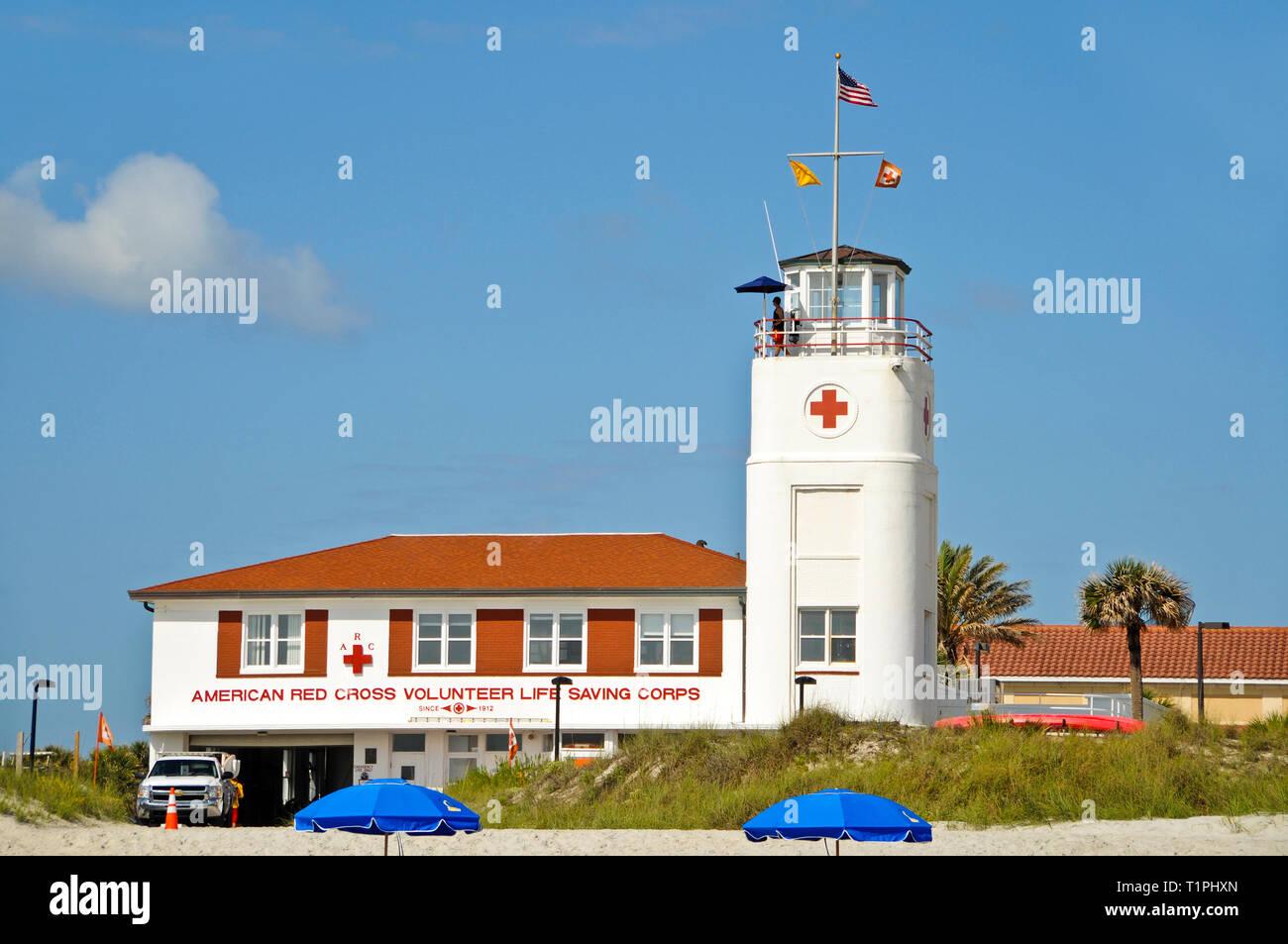 Jacksonville Beach, Florida / USA - April 17, 2012: American Red Cross Volunteer Life Saving Corps located at Jacksonville Beach, Florida - Stock Image