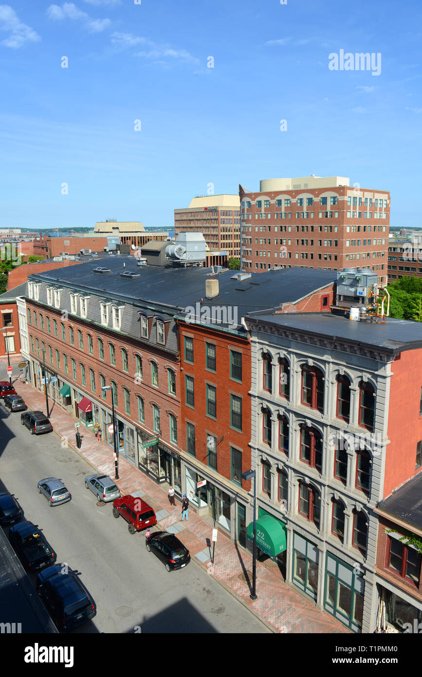 Portland Free Street at Old Port, Portland, Maine, USA  Old Port is