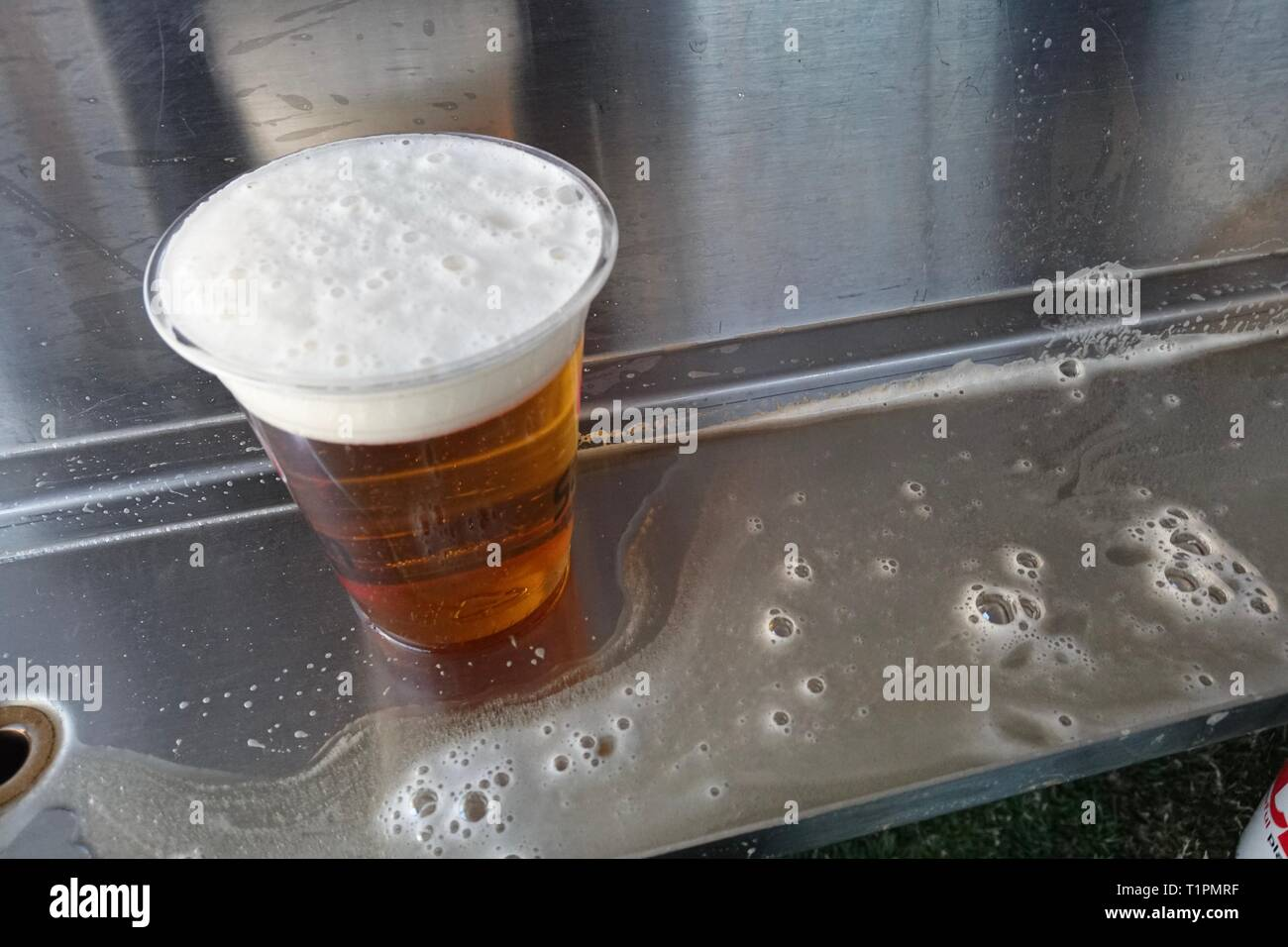 A cup of beer after being filled by a draft keg. - Stock Image