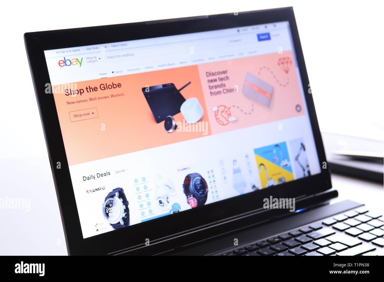 New York, USA - March 25, 2019: Illustrative Editorial of Website of eBay.com. eBay logo visible on display screen. Stock Photo