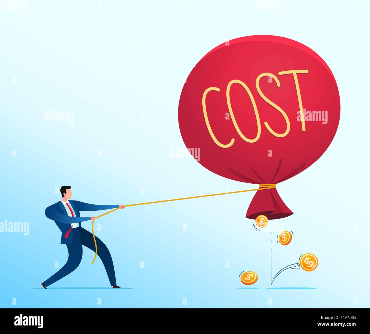 Businessman's strategy to prevent business loss. Business concept vector illustration. Stock Vector