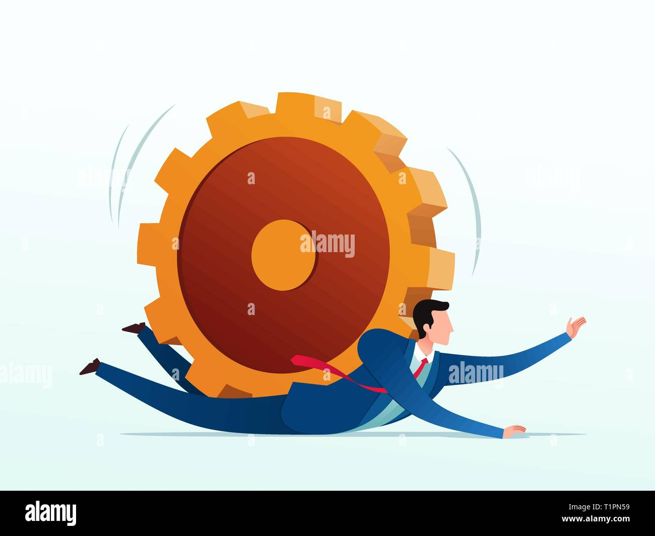Businessman getting pressed by dollar golden gear. Business concept vector illustration. - Stock Vector