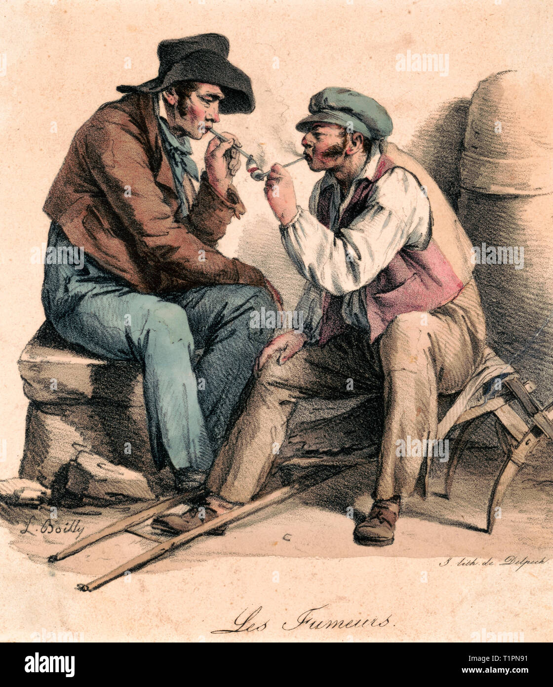 Les fumeurs - Print shows two men, possibly porters, exchanging a light from one another's pipes; one man is seated on rocks or bundles and the other is seated on the frame for carrying bundles on his back. Circa 1825 - Stock Image