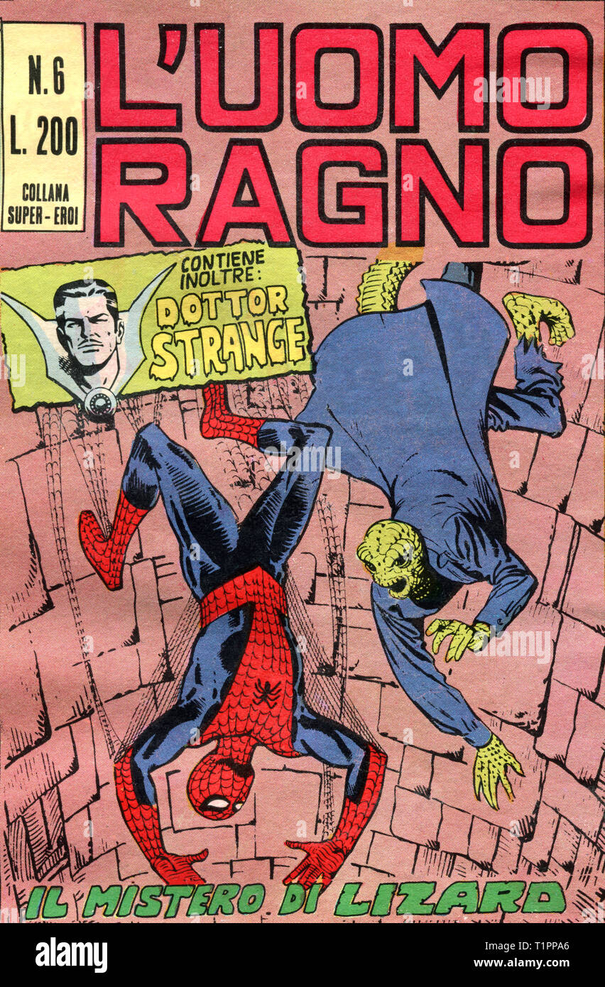 Italy - 1970: first edition of Marvel comic books, cover of The Amazing Spider-Man, L'Uomo Ragno Stock Photo