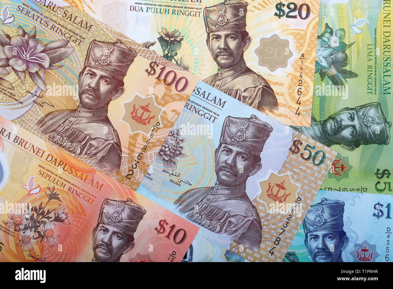 Brunei Dollar a business background - Stock Image