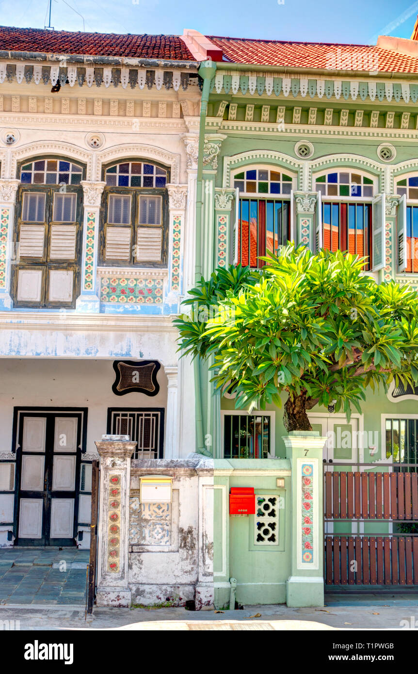 Historical Peranakan houses in Joo Chiat, Singapore Stock Photo