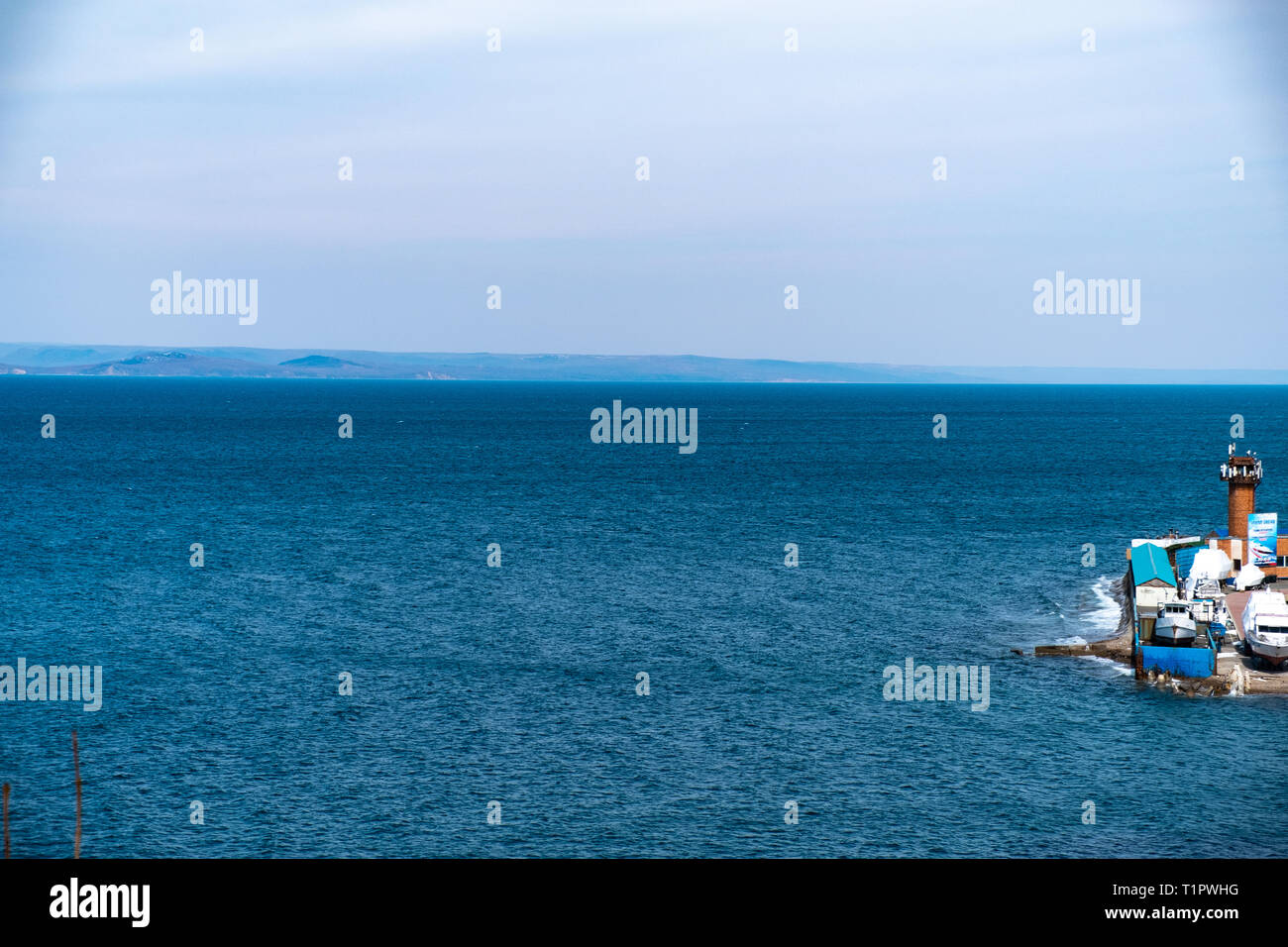 View of the sea and the city of Vladivostok from the observation deck - Stock Image