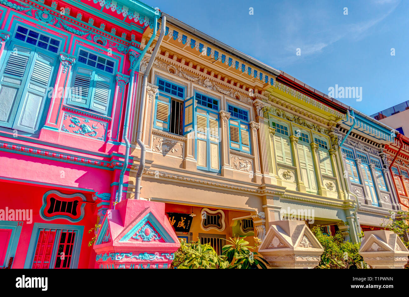 Historical Peranakan houses in Joo Chiat, Singapore - Stock Image
