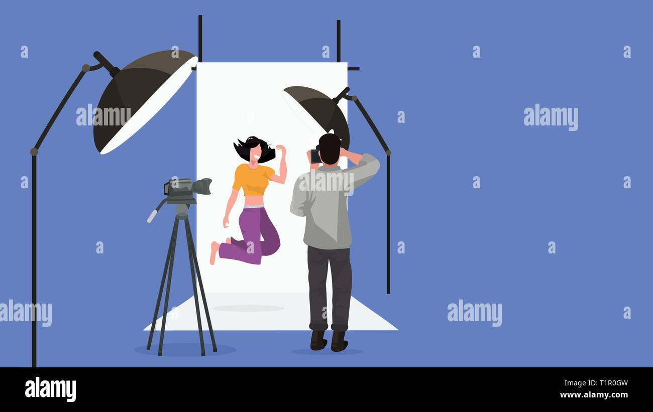 professional man photographer shooting beautiful woman model girl posing fashion shoot modern photo studio interior with lightning equipment - Stock Vector