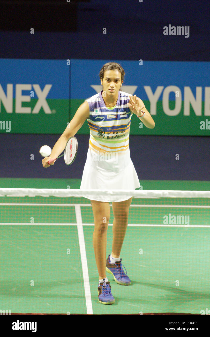New Delhi, India. 27th March 2019. P. V. Sindhu of India in action in the first round of Yonex Sunrise India Open 2019 in New Delhi, India. Credit: Karunesh Johri/Alamy Live News - Stock Image