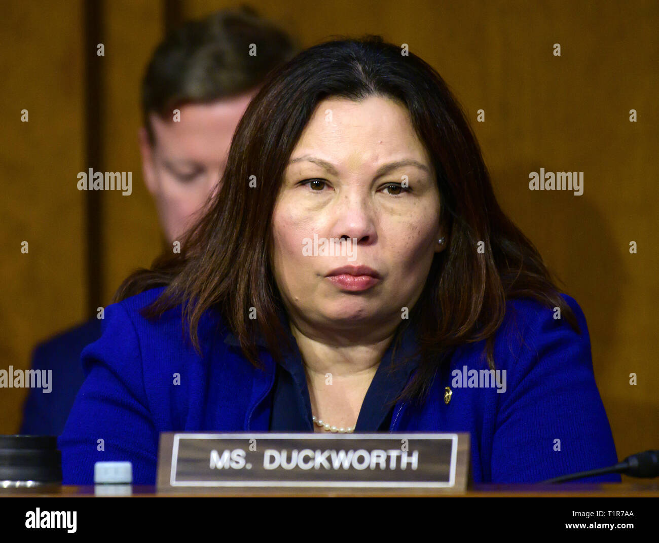 "Washington, District of Columbia, USA. 27th Mar, 2019. United States Senator Tammy Duckworth (Democrat of Illinois) listens to testimony before the US Senate Committee on Commerce, Science, and Transportation Subcommittee on Aviation and Space, during a hearing titled, ""The State of Airline Safety: Federal Oversight of Commercial Aviation'' to examine problems with the Boeing 737 Max aircraft highlighted by the two recent fatal accidents Credit: Ron Sachs/CNP/ZUMA Wire/Alamy Live News Stock Photo"