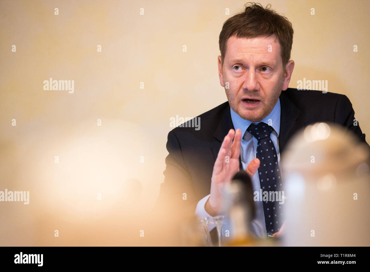 28 March 2019 Saxony Trebendorf Saxonys Prime Minister