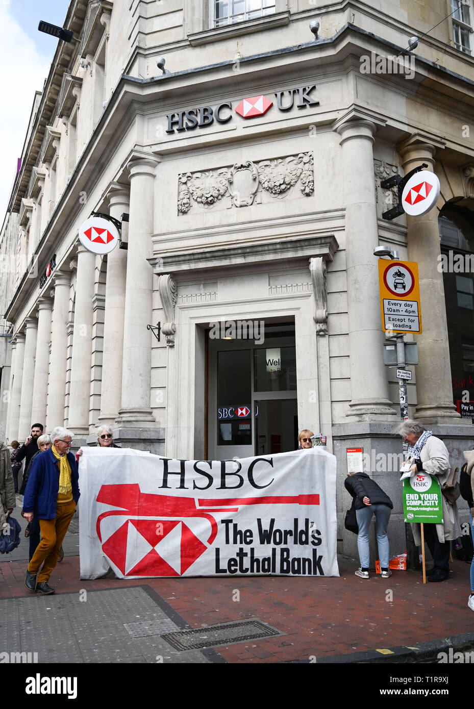 Brighton, UK. 28th Mar, 2019. The Brighton and Hove Palestine Solidarity Campaign outside the HSBC bank in North Street Brighton today . The Stop Arming Israel campaign is hoping to put pressure on the bank to cut ties with companies allegedly supplying weapons to Israel Credit: Simon Dack/Alamy Live News Stock Photo