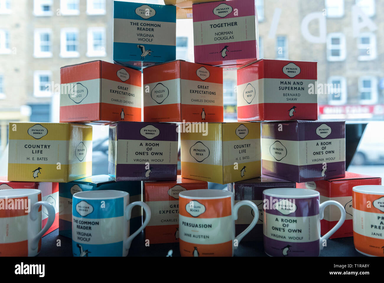 London Uk 28 March 2019 Book Title Inspired Decorated Mugs On Display At The Penguin Classics