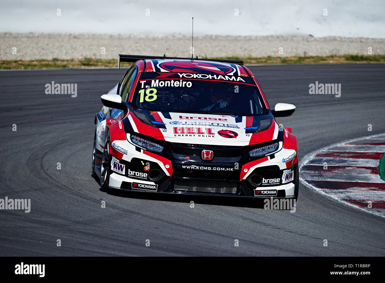 Barcelona, Spain. 28 March, 2019. Tiago Monteiro (PRT), KCMG , Honda Civic Type R TCR in action during the WTCR official test at the Circuit of Catalunya. Credit: Pablo Guillen/Alamy Live News - Stock Image