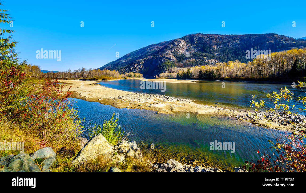 Fall colors along the North Thompson River between the towns of Clearwater and Little Fort in Beautiful British Columbia, Canada Stock Photo