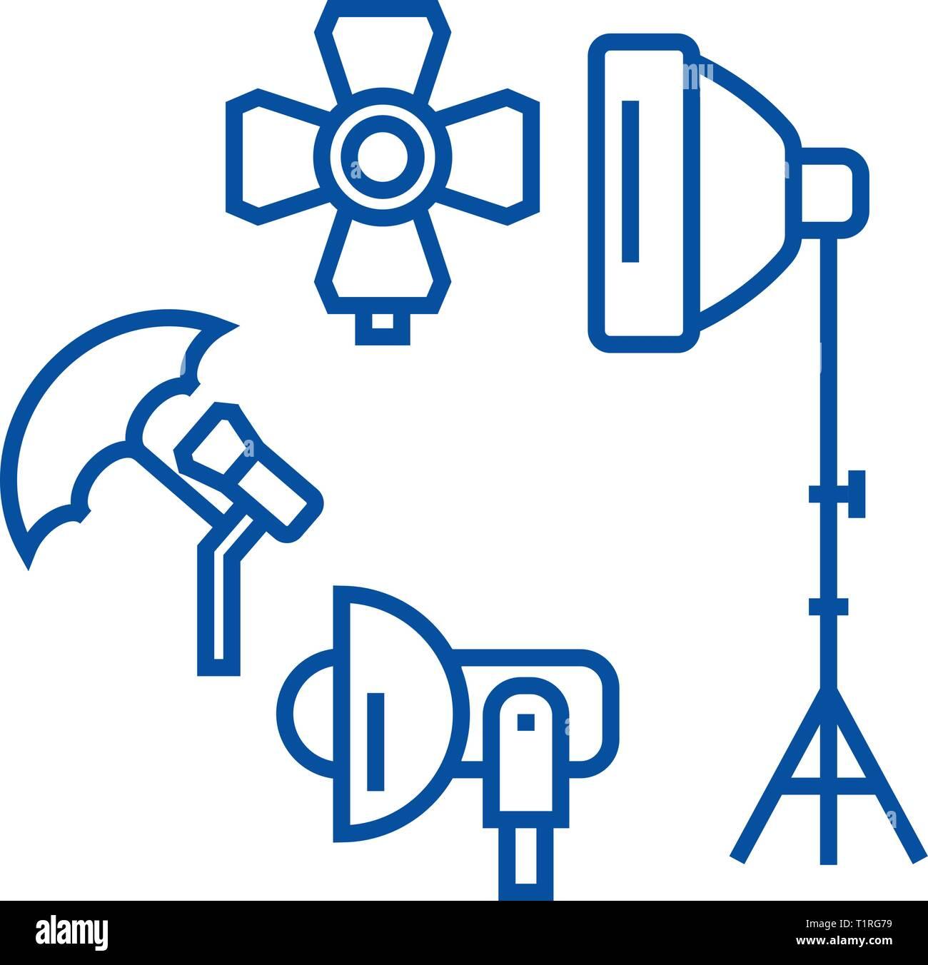 Photo studio, lighting equipment line icon concept. Photo studio, lighting equipment flat  vector symbol, sign, outline illustration. - Stock Vector