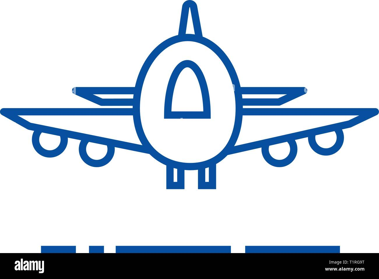 Plane,airoport,fast delivery line icon concept. Plane,airoport,fast delivery flat  vector symbol, sign, outline illustration. - Stock Vector