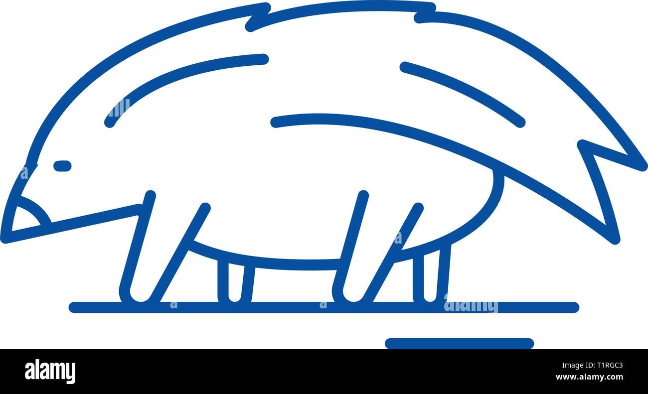 Porcupine line icon concept. Porcupine flat  vector symbol, sign, outline illustration. - Stock Vector