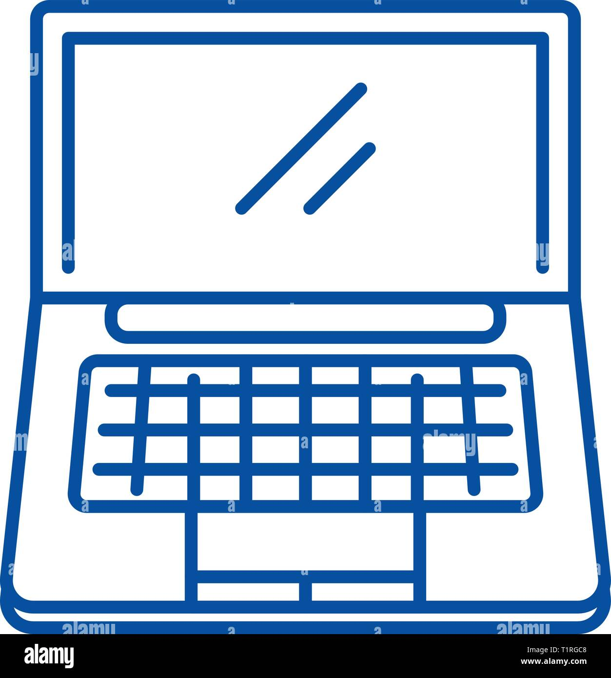 Portable computer line icon concept. Portable computer flat  vector symbol, sign, outline illustration. - Stock Image