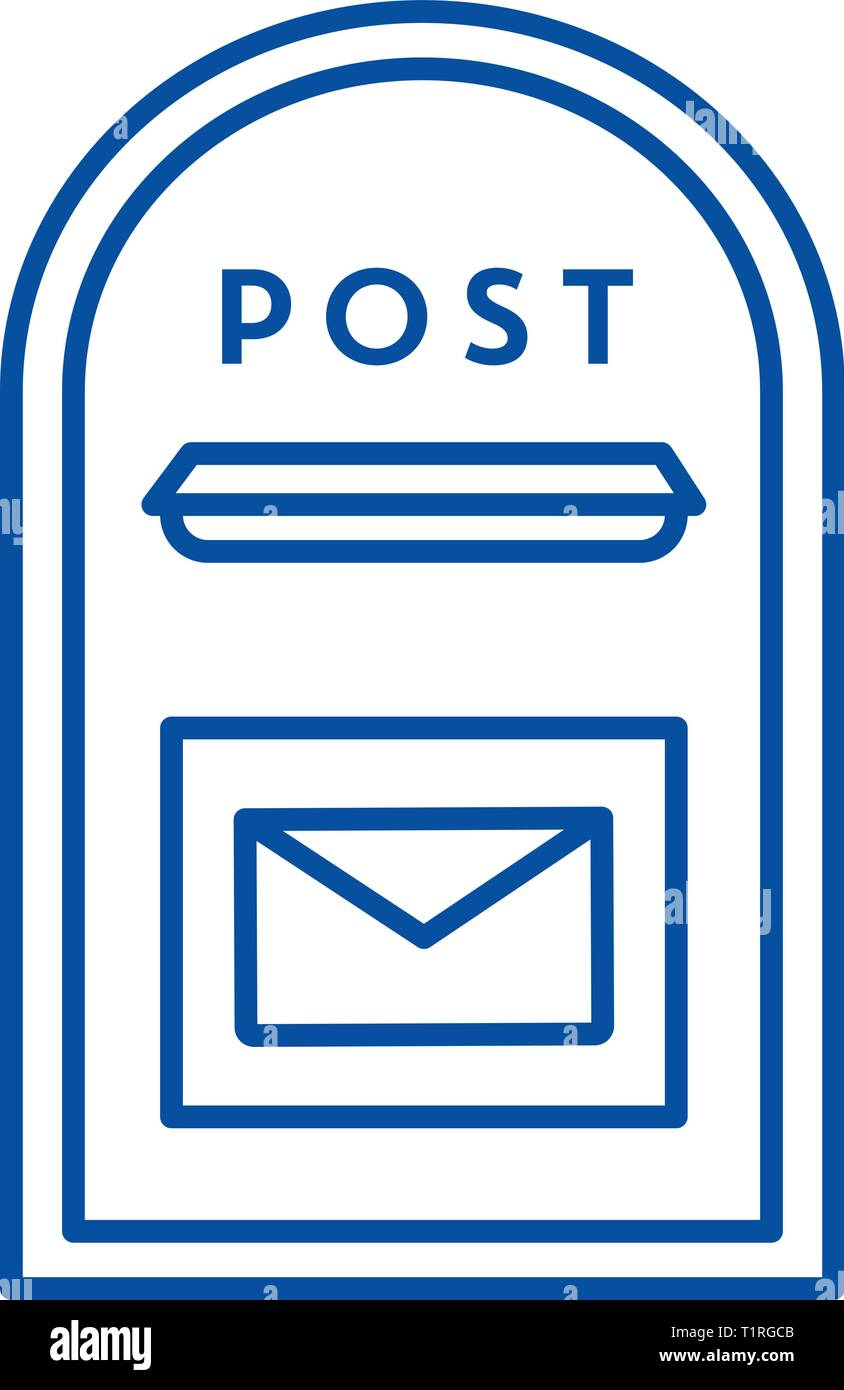 Post box line icon concept. Post box flat  vector symbol, sign, outline illustration. - Stock Vector