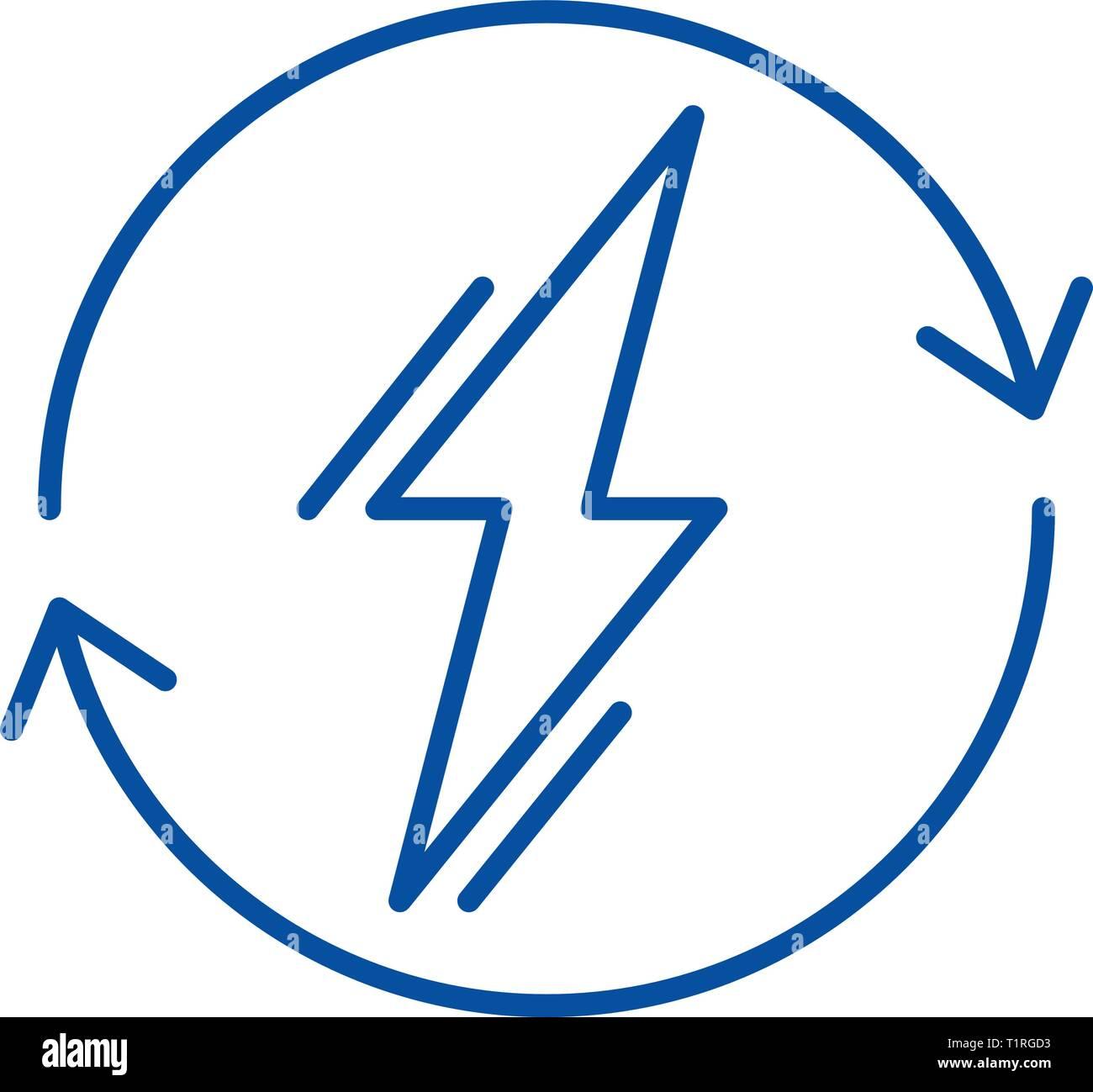 Power usage line icon concept. Power usage flat  vector symbol, sign, outline illustration. - Stock Image