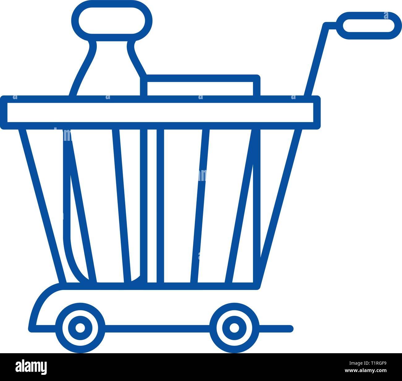 Product basket line icon concept. Product basket flat  vector symbol, sign, outline illustration. - Stock Vector