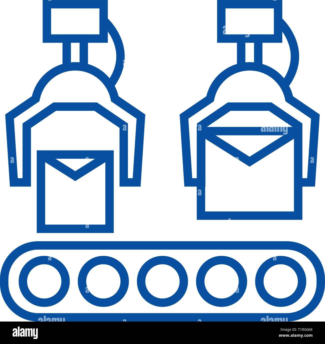 Production line line icon concept. Production line flat  vector symbol, sign, outline illustration. - Stock Image