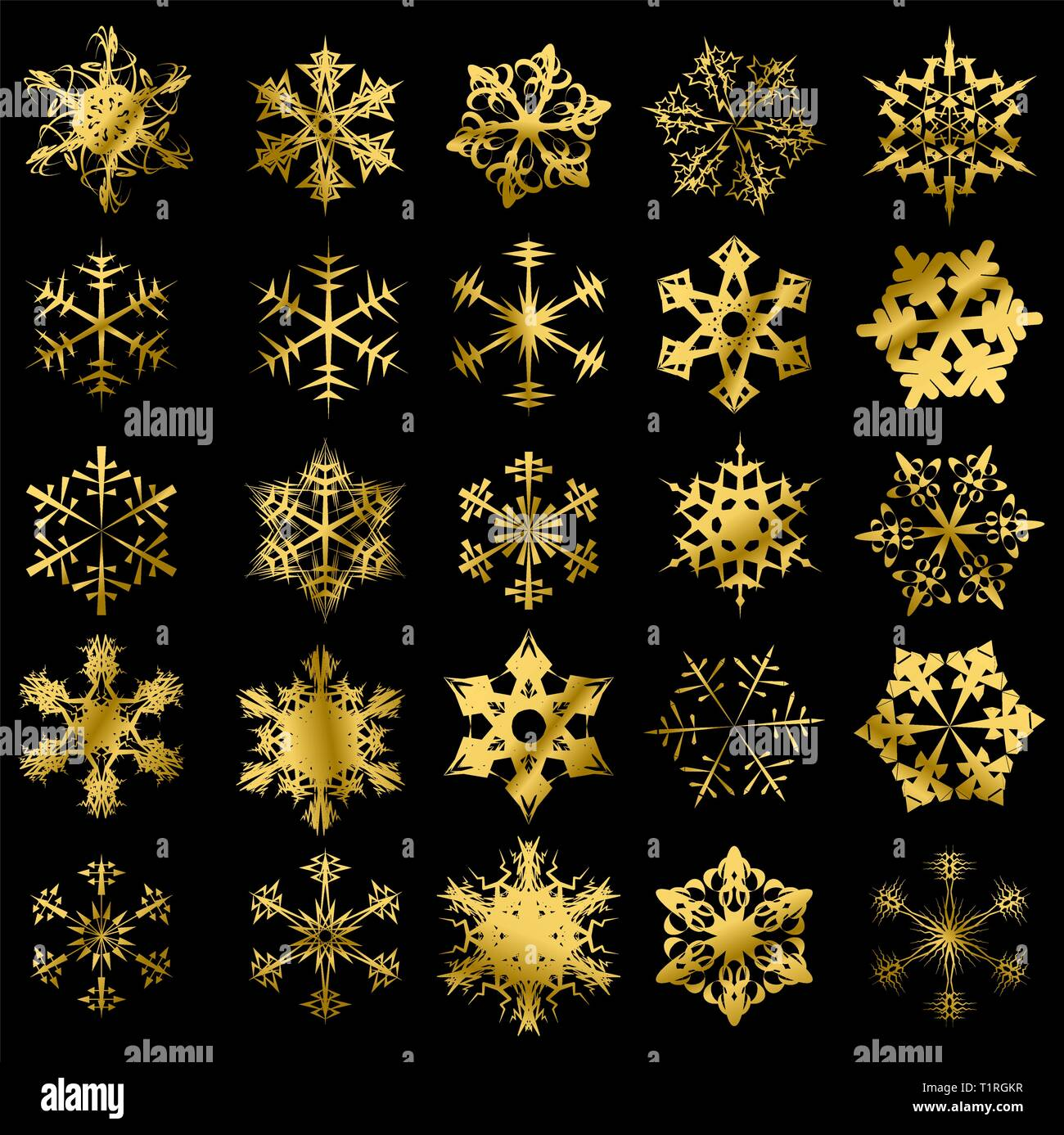 Golden snowflakes isolated on a black background - Stock Vector