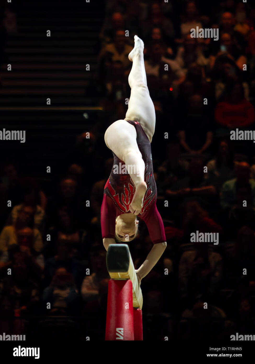 Birmingham, England, UK. 23 March, 2019. Russia's Aliya Mustafina in action during the women's beam competition, during the 2019 Gymnastics World Cup, Stock Photo