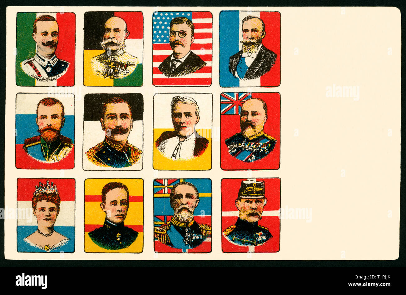 Germany, Berlin, portraits of ruling princes and presidents, postcard, sent 08. 06. 1907. , Additional-Rights-Clearance-Info-Not-Available - Stock Image