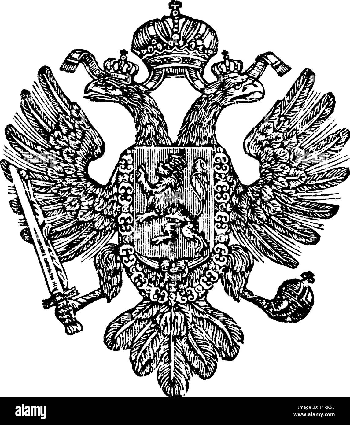 Vintage antique line drawing or engraved illustration of coat of arms of Kingdom of Bohemia as part of Austrian Empire. - Stock Image