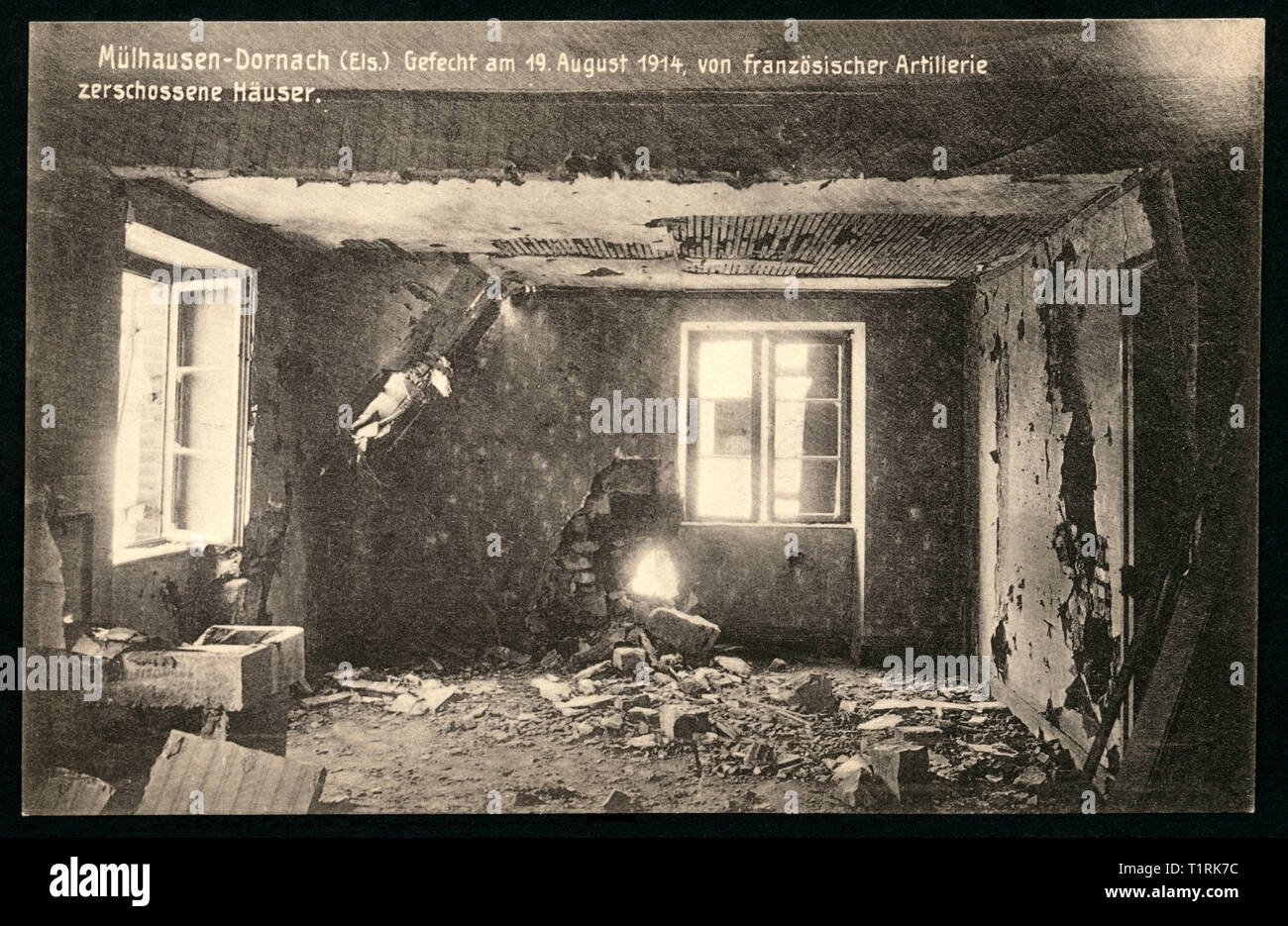 France, Alsace, Mulhouse, WW I, propaganda, patriotic postcard with the title: 'Mülhausen-Dornach (Els.), Gefecht am 19. August 1914, von französischer Artillerie zerschossenen Häuser '  (Mulhouse-Dornach, Alsace, battle on 19. August 1914, demolished houses by French artillery, published by Schaar and Dathe, 1895-1934, Trier. , Additional-Rights-Clearance-Info-Not-Available - Stock Image