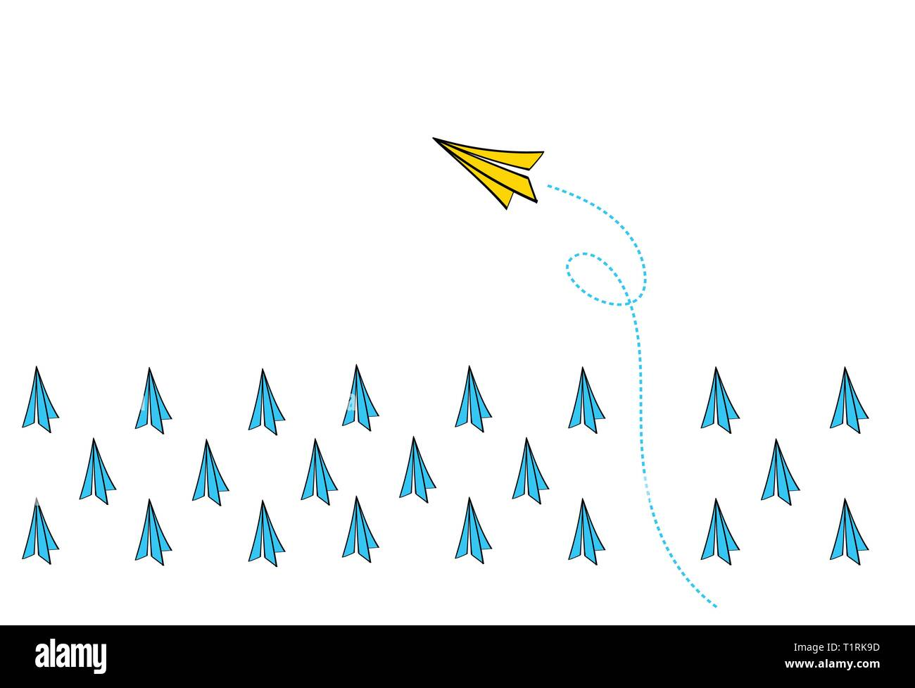 Leadership concept with Yellow paper plane leading among Blue paper planes on White background Vector. - Stock Image