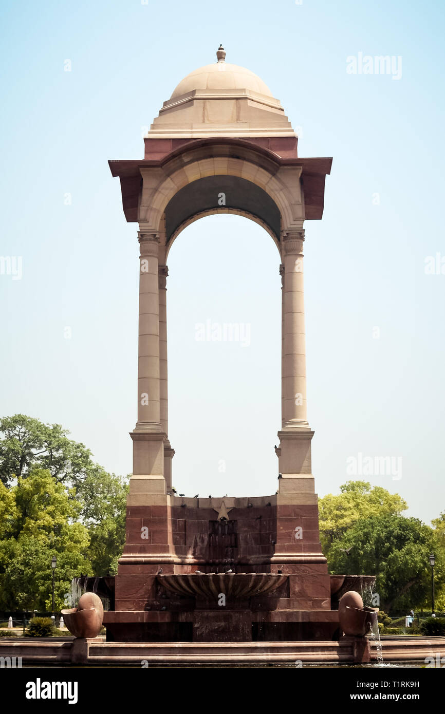 Rajpath, Raisina Hill, India Gate, New Delhi, India January 2019: The vacant canopy, constructed in red sandstone, a symbol of British's retreat from  Stock Photo