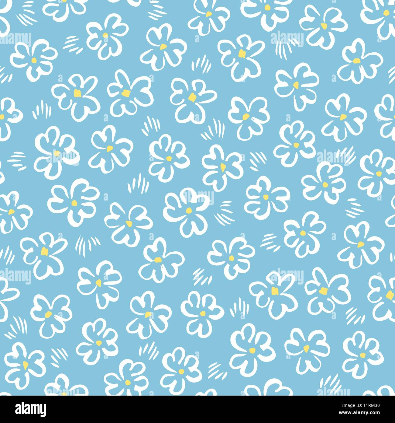 Cute white abstract hand-drawn daisis on blue background vector seamless pattern. Whimsical easter floral print. Simplistic ditsy blooms. Retro minima - Stock Image